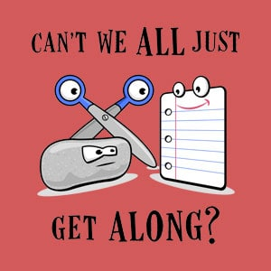 Funny 'Cant We All Just Get Along' design with rock, paper, scissor.
