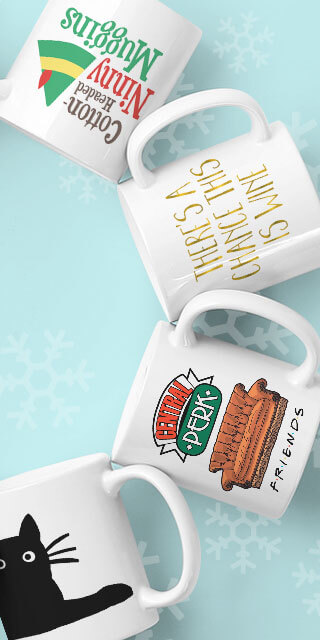 Stack of custom printed coffee mug gifts with funny sayings - great holiday gift idea.