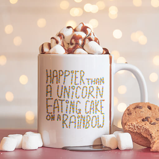 Coffee mug with hot chocolate, marshmallows, and chocoalte syrup running down the side. Surrounded by cookies and ready for Santa to drink. Funny saying printed on the mug. Great holiday gift.