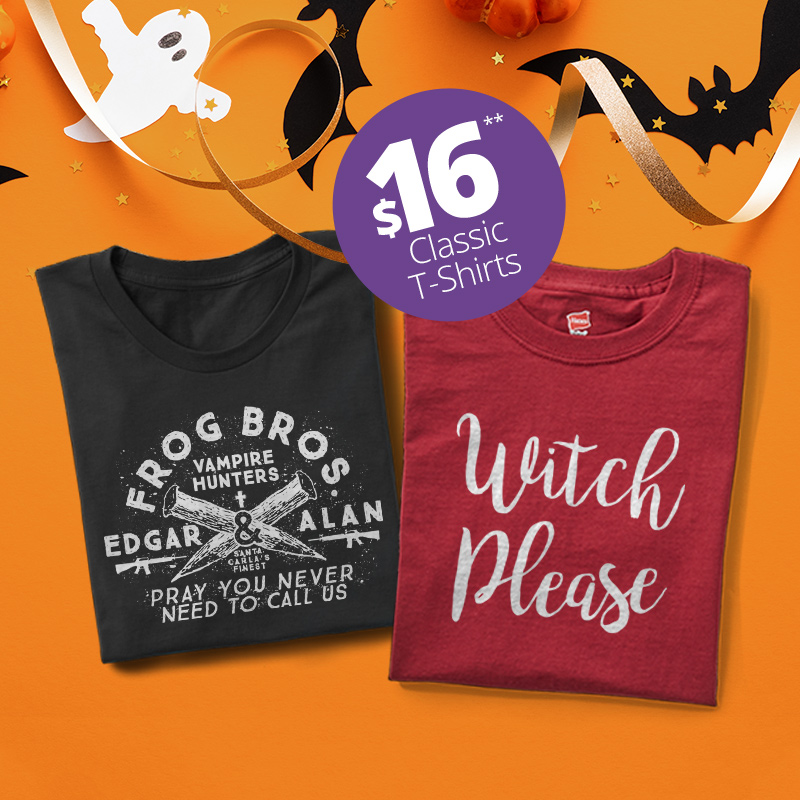 Two classic t-shirts with Halloween designs.
