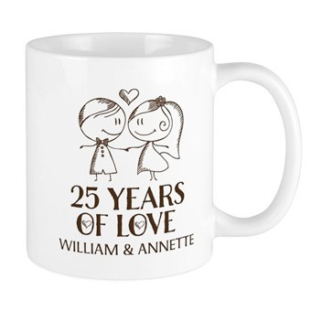 White mug with 25 Years of Love personalized design