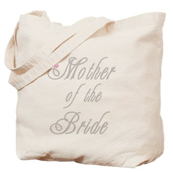 Tote bag with custom printed design that reads Mother of the Bride