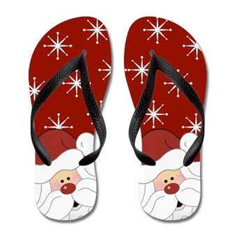 Flip flops with cute Santa Christmas design
