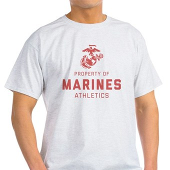 White t-shirt with custom printed design that reads Property of Marines Athletics