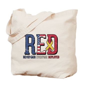 Tote bag with custom printed design that says Remember Everyone Deployed