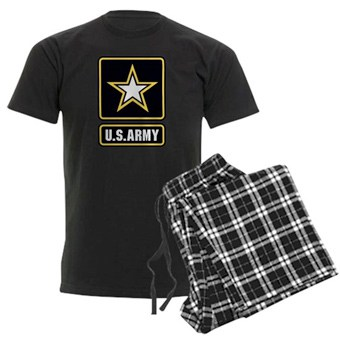 Pajama set with black t-shirt and black plaid pants and US Army design