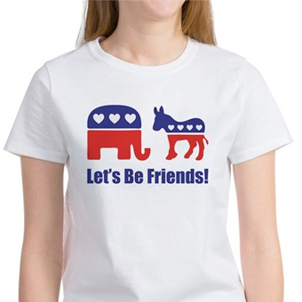 White t-shirt custome printed with design that reads Let's Be Friends