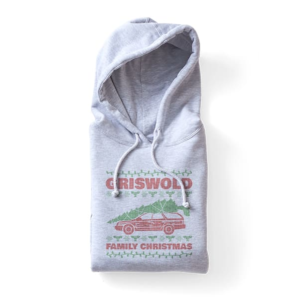 Grey hoodie with a custom printed design that reads Griswold Family Christmas