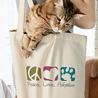 Cutest cat in the world resting in her owners custom Cafepress canvas tote bag