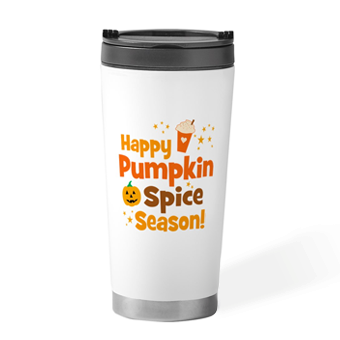 Custom printed pumpkin spice fall mugs, drinkware, home decorations, apparel, pillow sets, and more