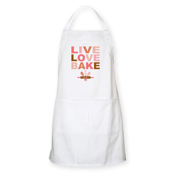 Current fashionable designs printed on custom aprons for baking and cooking