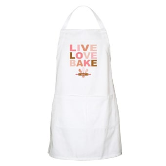Custom printed apron with a design that reads: Live Love Bake.