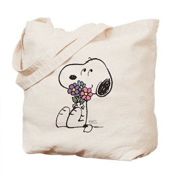 Custom printed canvas tote bag with a Snoopy design