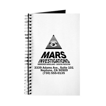 Custom printed notebook with a Mars Investigations design on the cover