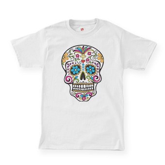 White t-shirt with a decorative skull design for day of the dead
