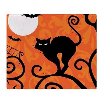 Custom printed tile with a spooky cat Halloween design