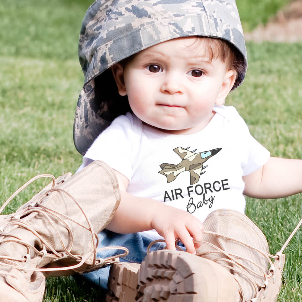 Baby wearing military camo hat with Air Force Baby design on his onesie
