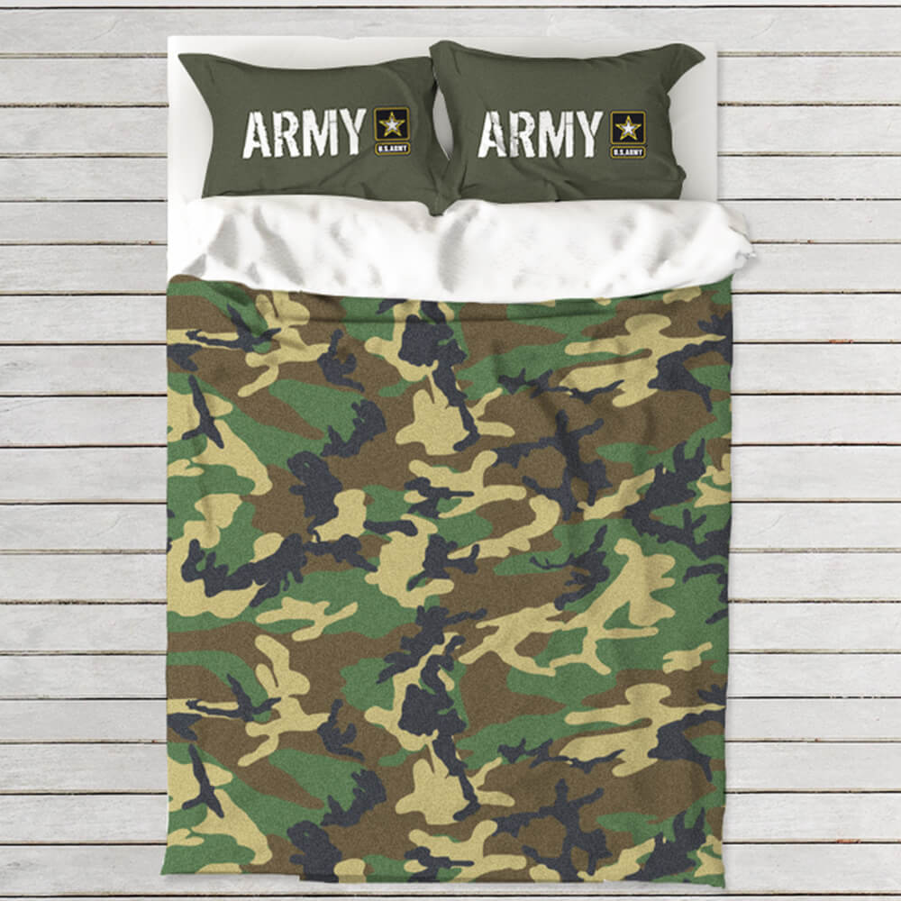 Bed with Army camouflage duvet cover and two Army logo pillows