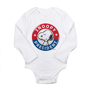 Image of a custom design election 2020 baby bodysuit with official licensed Peanuts Snoopy artwork that reads: Snoopy for President