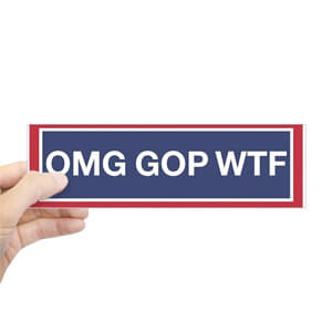 Image of a custom design election 2020 bumper sticker that reads: OMG GOP WTF.