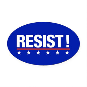 Image of a custom design election 2020 car magnet that reads: Resist.