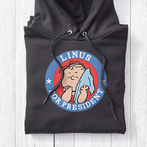 Image of a Hooded T-Shirt with a 2020 Election fictional candidates official licenseed Peanuts design that reads:Linus for President