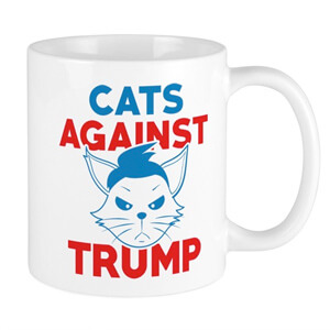 Image of a custom design election 2020 mug with stylized cat illustration and text that reads: Cats Against Trump.