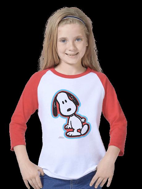 Young Girl wearing a Kids Baseball Tee