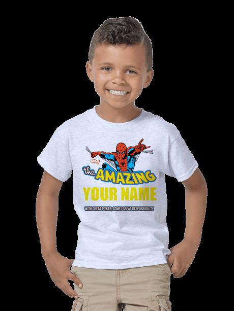 Young Boy wearing a Kids Classic T-Shirt