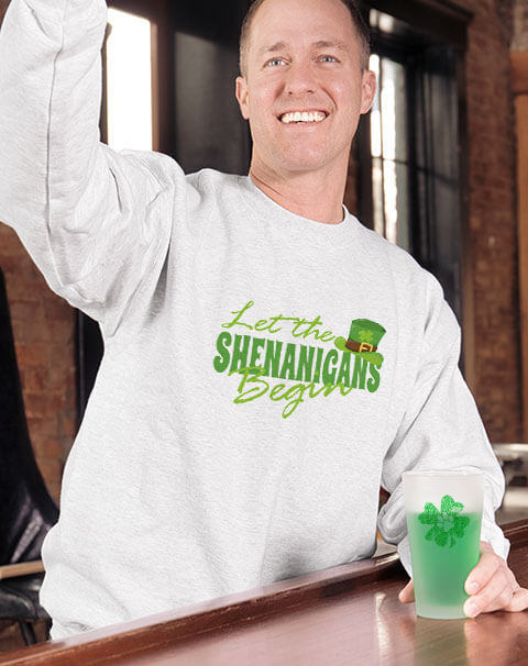 St. Patrick's Day graphic design custom printed sweatshirts and hoodies on caucasian middle age man.