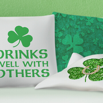 Pillows and home decor with St. Patrick's Day and Irish themed designs.