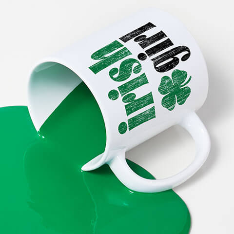 Coffee and latte mugs printed with various St. Patrick's Day themed designs