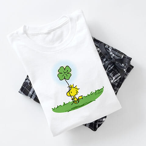 St Patrick's Day designs on graphic t-shirt combined with pajamas pants in various styles to add a splash of fun to your St Patrick's Day.